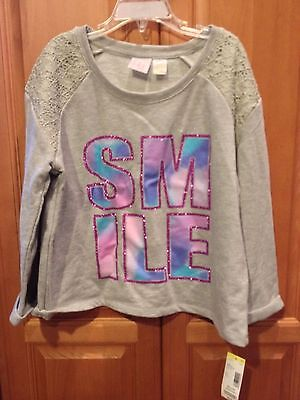 "NWT CANYON RIVER BLUES GIRL'S GREY SWEATSHIRT ""SMILE"" GLITTER & LACE L/14"