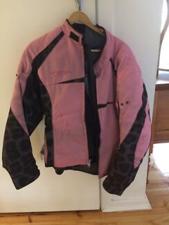 Pink armoured motorcycle jacket.