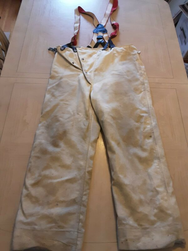 Vintage Globe Firefighters Pants With Suspenders 1971 Size 36 Firemen Rescue