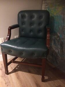 Emerald green leather tufted vintage chair