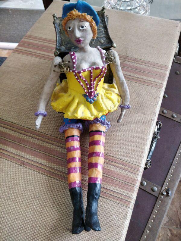 """Folk Art Figurine """"Hilda"""" Puppet Wall Art Sculpture by Judie Bomberger 14"""""""