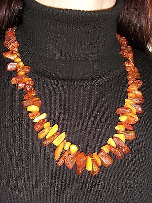 Genuine Antique semi-transparent and Batterscotch Baltic Amber Necklace 55 Gr