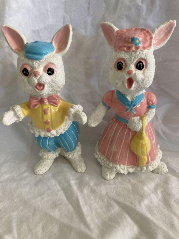 2 Vintage Ceramic Easter Bunnies Bunny Rabbit