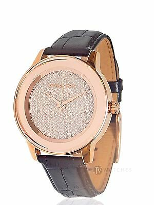 Womens Michael Kors  Mk2456  Kinley Black Leather Rose Gold Tone Watch Sale