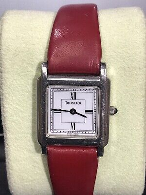 TIFFANY & Co. Ladies Square Tank Stainless Steel WATCH Red Leather Vtg Rare