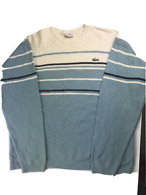 Mens Vintage Striped Lacoste Sweater Sweatshirt Jumper Medium