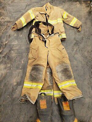 Firefighter Turnout Bunker Set 44r Jacket 2 Pants 38l 36 Janesville Lion Nomex