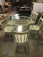 Vintage Glass Top Table & 5 chairs Petersham Marrickville Area Preview