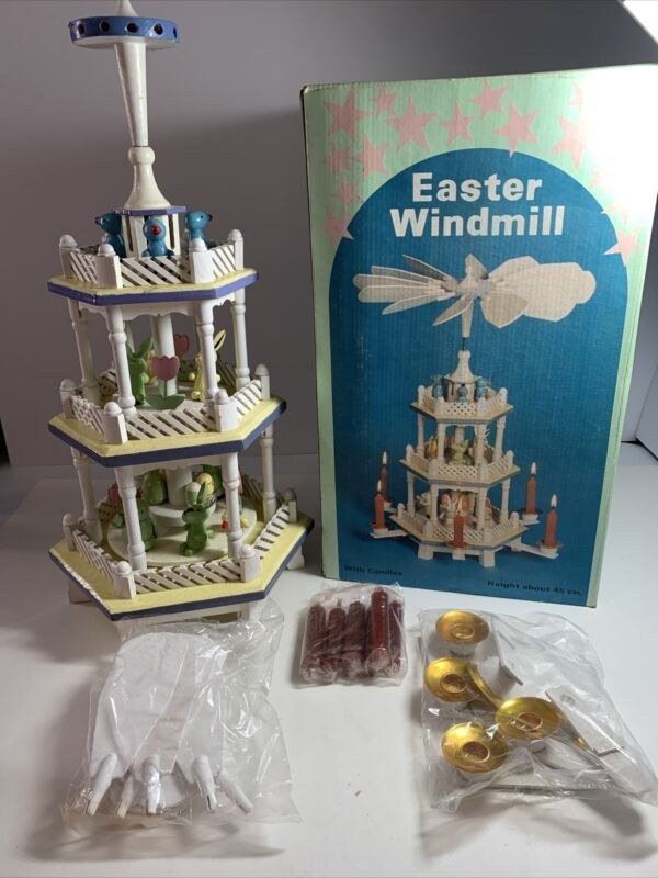 """Vintage 3-Tiered Pyramid Wood 18"""" Windmill-Candle Holder Easter New Open Box"""