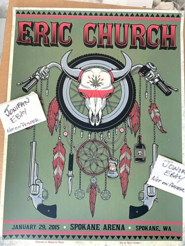 ERIC CHURCH Spokane WA 2015 SCREEN PRINT POSTER ARTIST PROOF SIGNED dreamcatcher