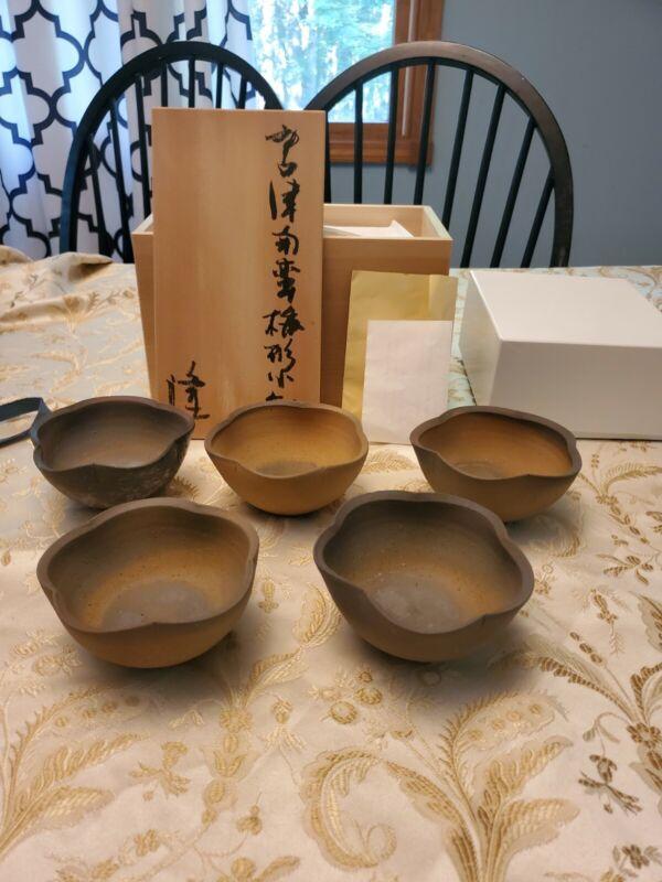 Nakazato Takashi Japanese Set of 5 Karatsu-Nanban Lobed Bowls