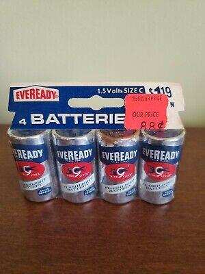 4 Pack Vintage 1970s Eveready Flashlight Batteries 1.5 Volts Size C