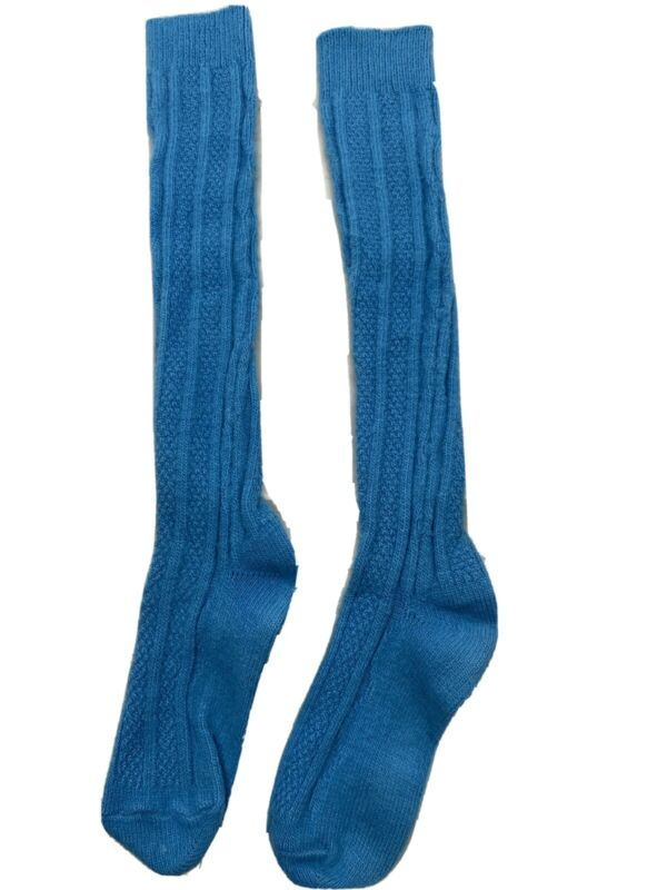 Vintage Blue Green Cable Knit Fuzzy Soft Knee High Orlon Mix Socks School Girl