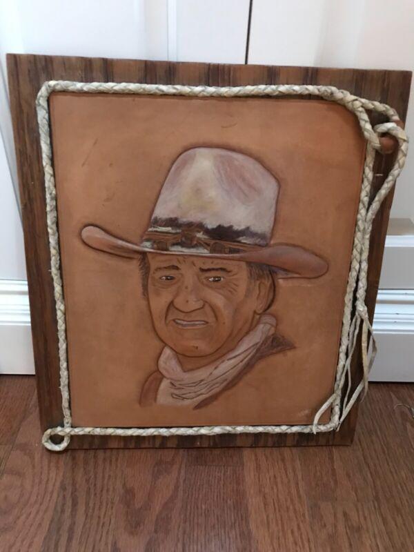 Vintage John Wayne Leather Engraving Western Handmade