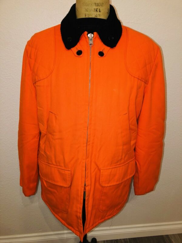 VTG 70s Sears Sports Center Ted Williams Blaze Orange Hunting Quilted Jacket 44