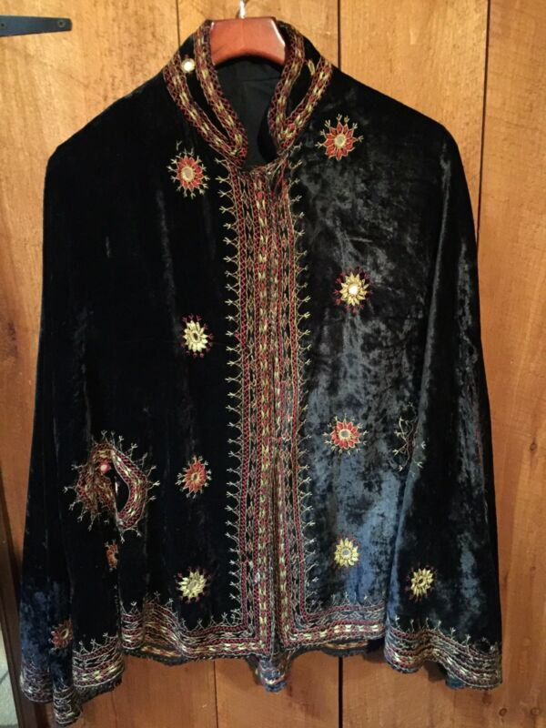 Antique Vintage Ethnic Pakistan Embroidered Black Velvet Cape Shawl Mirrors
