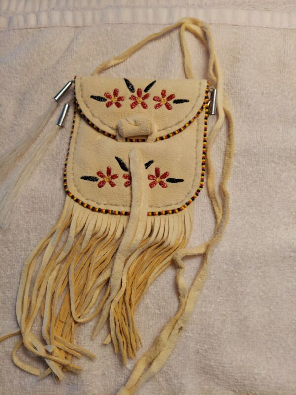 Native American Styled Quilled Design  Tanned Pouch