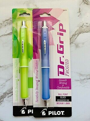Free Ship Two Dr. Grip Frosted Green Purple Black Ink Pens