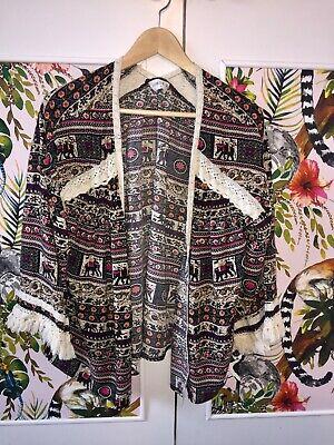 Kimono shrug, colourful print, size: small, Kiss the sky