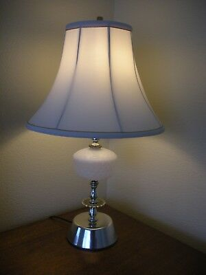 Vintage glass table lampebay 1 vintage 1950s 23 white milk glass hobnail bedroom table lamp w shade mozeypictures Choice Image