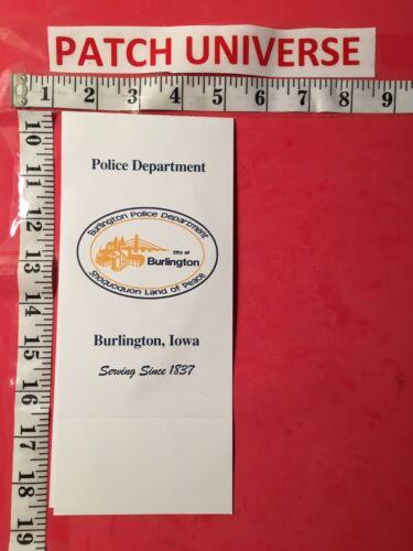 OFFICIAL BOOKLET  BURLINGTON IOWA  POLICE SHOULDER PATCH   T024