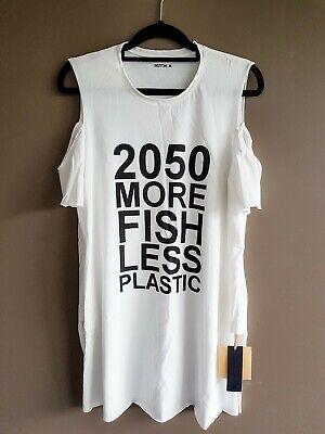 KITX Exclusive cut out shoulder slogan dress/top size M NEW with tags rrp $100