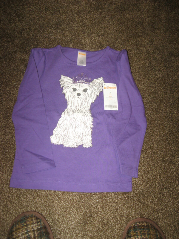 NWT Gymboree Purple White Princess Puppy Dog Long Sleeve 100% Cotton Top 4 4T