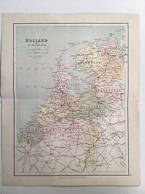 Holland, Netherlands, 1881 Antique Map, Philips, Atlas, Original Railways Canals