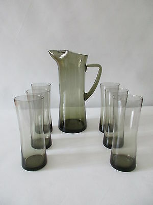 MIDCENTURY Rauchglas Set-Karaffe und 6 Gläser-60/70's Design
