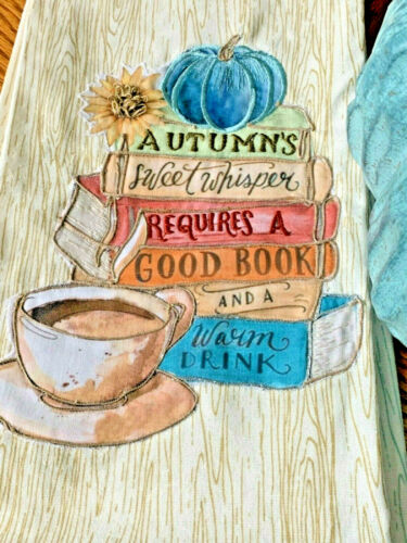 New Fall Aqua Pumpkin, Coffee & Stack of Books Kitchen Towels Set of 2
