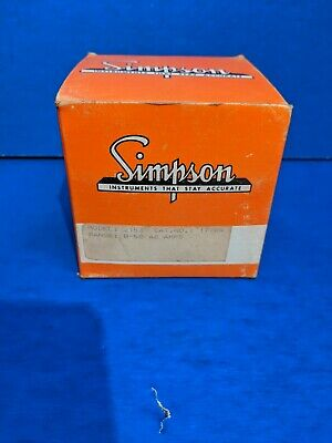 Vtg Nos New Simpson Electric Model 2153 Ac 50 Amps Panel Meter In Box W Screws