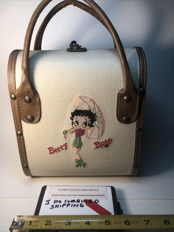 """Vintage SSSarna Betty Boop Embroidered Front & Back Hand Bag 5""""x8""""x12"""" New"""