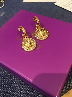 VERSACE Greca and Medusa Gold Tone Logo Drop Earrings Made in Italy 🇮🇹