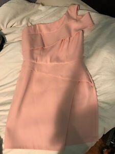 BCBG MAX AZRIA BABY PINK ONE SHOULDER MINI DRESS