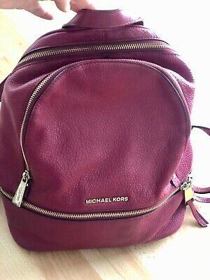 Michael Kors Rhea Leather Backpack Medium Size. Hot pink. Used-good condition.