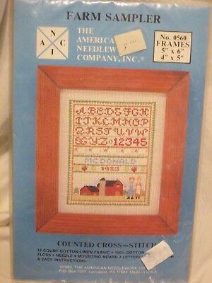 New Unopened American Needlework Farm Sampler  Cross stitch KitPattern 5x6 4x5