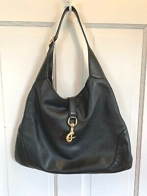 Gucci Black Guccissima Leather Hobo Bag SOFT GOLD HOOK CLASP JACKIE O
