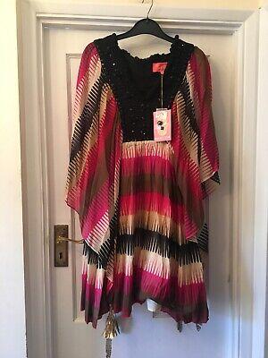 New Manoush Silk & Cotton Mix Bead & Feather Kaftan Boho Summer Top/Dress,42/12