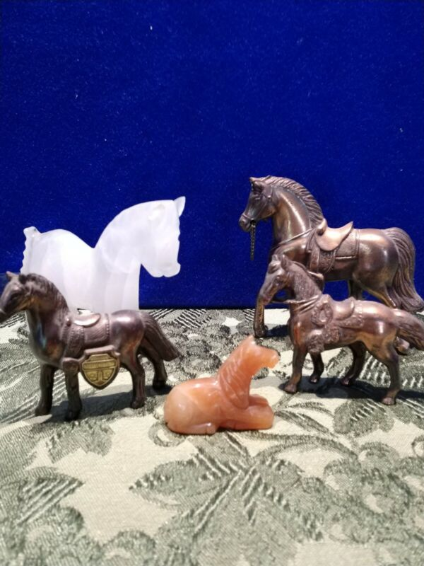 5 Vintage Horse Collection 2 Marble, 3 Bronze