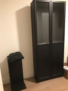 Black Billy bookcase with Oxberg doors and extra shelf at top
