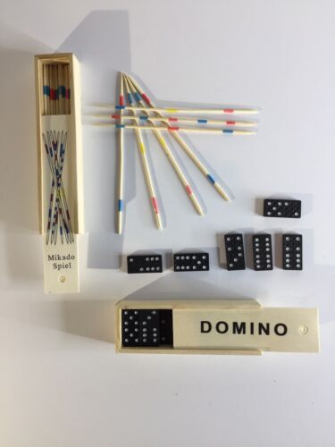 Domino + Mikado Spiele Set In Holzschachtel Neu
