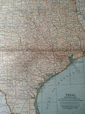 1903 Texas (East) Original Antique Map United States State Map Vintage