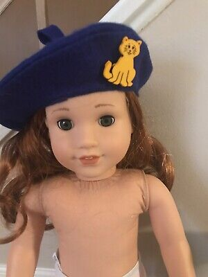 "Beret Hat Fleece With Cat Button Made For 18"" American Girl covid 19 (Fleece Doll Hat coronavirus)"