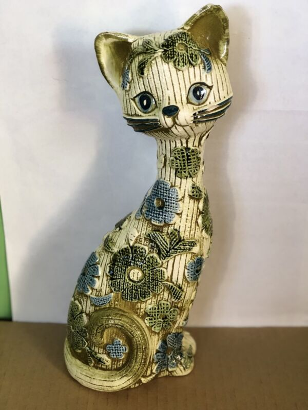 Rare Vintage Inarco  Large Ceramic Floral Kitty Cat E-3856 Mid Century Japan