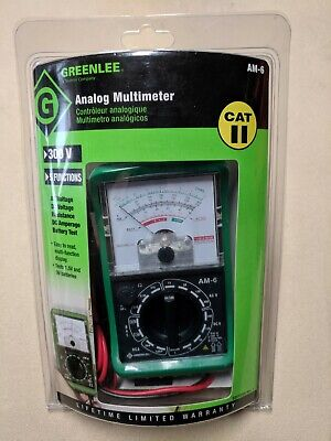 Greenlee Am-6 12725 Cat Ii 300v Analog Multimeter 5 Functions Acdc Resistance