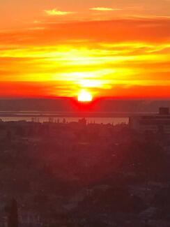 Stunning sunrise view in a clean, cosy apartment for lease