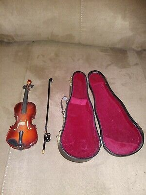 "VIOLIN Music Box Miniature 6"" Long Wood W/ Case & Bow Plays My Heart Will Go On"