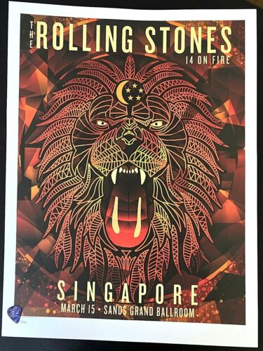 Rolling Stones 14 On Fire Tour 2014 SINGAPORE #/500 Litho Poster Print IN STOCK!