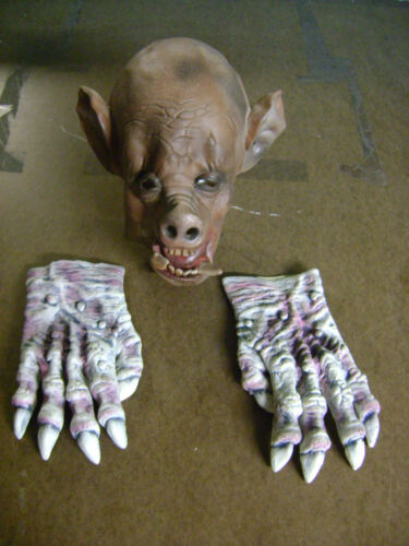 HALLOWEEN PROP HAUNTED HOUSE PIG FACE PIG MAN BOAR W/  LATEX GLOVE HANDS  SET 2