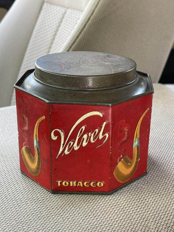 Rare Antique Velvet Octagon Tobacco Tin Spaulding & Merrick, Chicago, ILL 1920's
